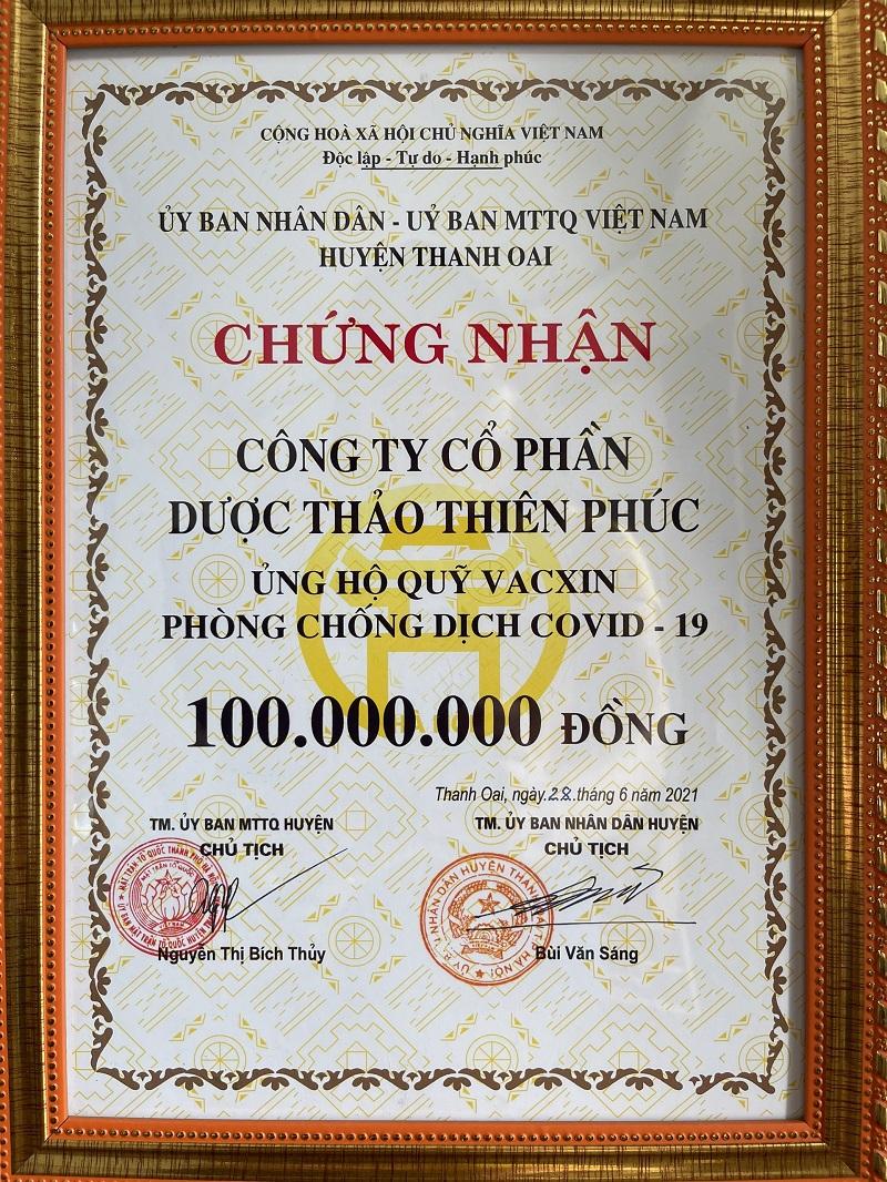 Thiên Phúc ủng hộ quỹ vaccine phòng chống dịch Covid-19